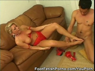 Foot Fetish, Blonde, Blowjobs and Red Lingerie