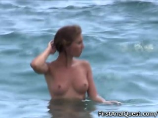 Stunning blonde ends photo shoot with cum on her tits