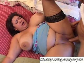 Beautiful big tits BBW brunette gets boned