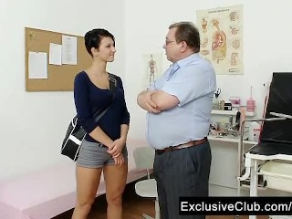Big tits brunette Nicoletta vagina exam by doctor