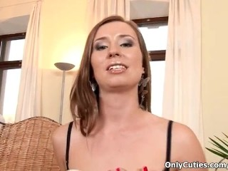 Brunette whore takes her clothes off and rubs her horny cunt