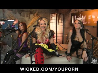 Three horny sluts dress up in costumes for a Halloween orgy