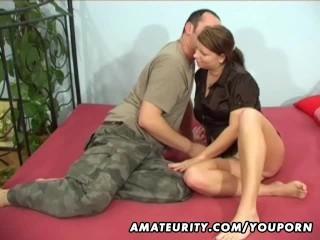 Busty amateur girlfriend sucks and fucks with cumshot