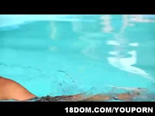 Skinny teen brunette fucks her swimming instructor by the pool