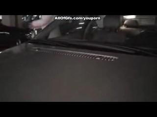 Sexy blonde GF sucks a cock in the car park