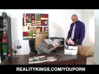 Big-tit blonde boss makes her employee suck & fuck her pussy