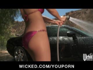 Bikini clad Latina Eva Angelina gets fucked on the hood of her car