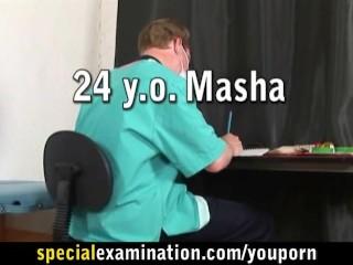 Gyno exam for sexy brunette girl Masha