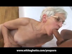 Picture White Haired Granny Takes Latino Cock and Fa...