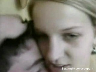 Sexy blonde girlfriend getting fucked by her boyfriend