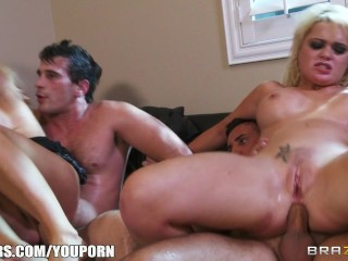 The Swinger Experience Presents Two blonde girlfriends have a foursome with their neighbors