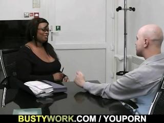 Black BBW boss is doggystyle fucked