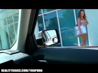 Pretty stranded redhead is picked up and paid for sex