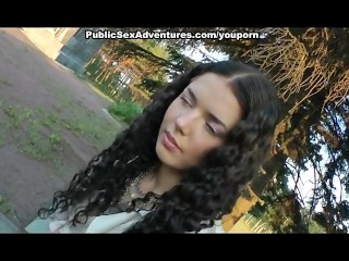 Outdoor fuck with girl in pantyhose