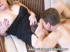 Picture Busty amateur Milf sucks and fucks with cum...