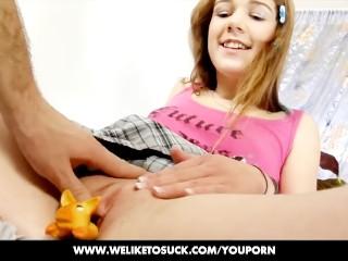 Liz sucking her boyfriends cock upside down