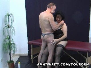 Old amateur couple home action with cum on tits