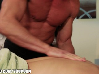 Cock Hungry slut Alektra Blue is fucked hard by her dirty masseur