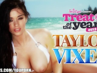 Treat of The Year Taylor Vixen plays with her big-natural-tits