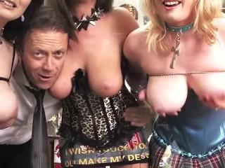 Double Penetration Dildo Fucking and Lesbian Tease