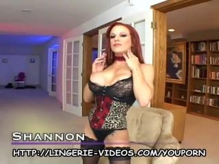 Busty redheaded milf fucking in black lingerie