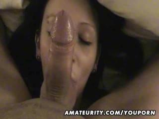Cute amateur girlfriend sucks and fucks with cumshot