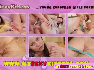 Shy busty teenie toys her pussy hole
