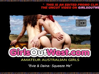 Girls Out West - Lesbian cuties touch their pussies
