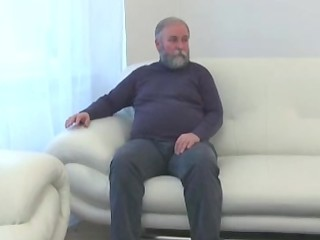 Teen blonde girl fucked by an old fat man when her boyfriend leaves, she jerks two cocks in the end.