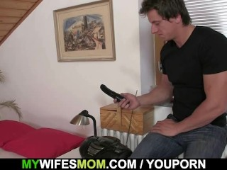 She finds her mom sitting on her man's dick