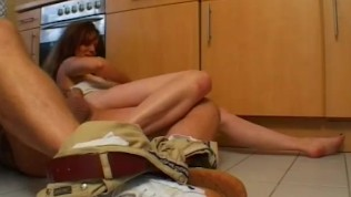 Naughty amateur Milf fucked in her kitchen with cum