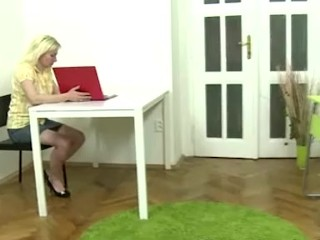 Two slim students get seduced by their lesbian teacher, play with toys and their shaved pussies