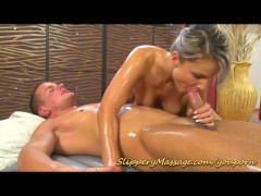 Slippery nuru massage sex...