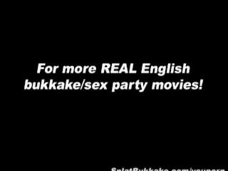 British amateur redhead bukkake party