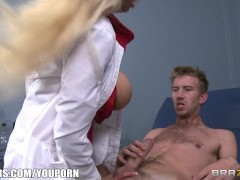 Picture Holly Brooks uses her tits to calm her patie...