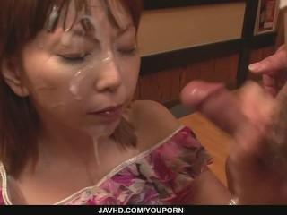 Minami Kitagawa´s foursome results in an asian cum facial