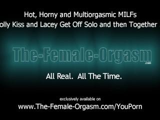 Hot Multiorgasmic MILFs Masturbate Solo and Together
