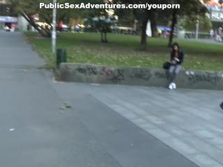Nasty chick sucks in the park