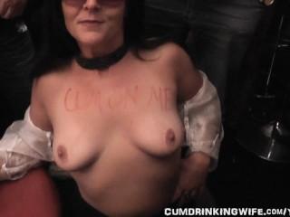 Slutwife sucks off 20 guys at music club