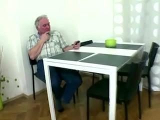 Naughty czech girl fucks with old man as soon as boyfriend leaves