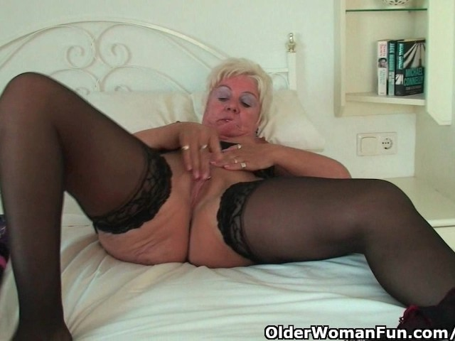 Curvy Granny In Black Stockings Rubs Her Old Clit - Free -7813