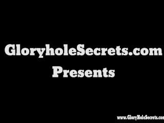 Gloryhole Secrets BBW Tiffany giving blowjobs and swallowing strangers cum