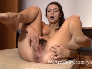 Bushy sexy girl Edica masturbates whereas in her closet