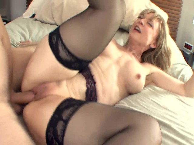 Big Boobed Blonde Milf In Stockings And A Garter - Free -7171