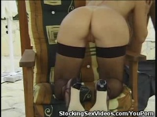 Busty Babe In Stockings Sucks Cock And Fucked Hard