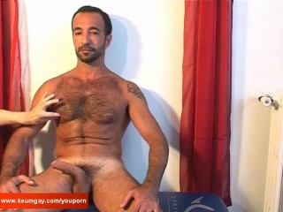 Full video: Kamel, a sexy 44 y.o sport arab guy get wanked his hard cock by a guy !-
