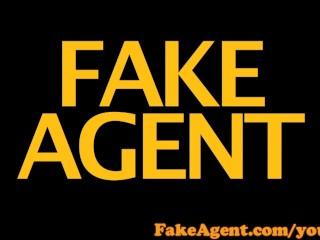 FakeAgent Skinny blonde amateur gets sprayed with spunk