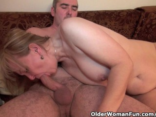 Grandma obtains her hairy pussy fingered including pounded hard