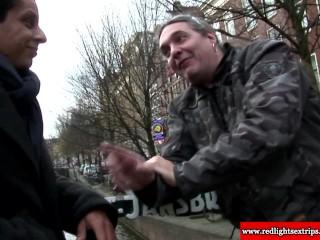 Hot and real Dutch slut giving blowjob