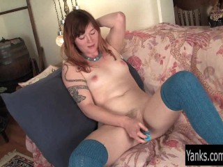 Sexy Turquoise Pleasing Herself With Toys